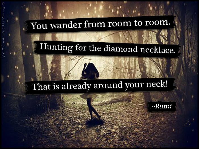 EmilysQuotes.Com-amazing-great-wander-room-hunting-diamond-necklace-neck-mistake-wisdom-Rumi